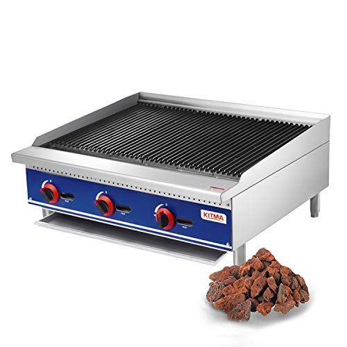 Commercial Countertop Lava Rock Charbroiler - KITMA 36 Inches Natural Gas Char Rock Broiler with Grill - Restaurant Equipment for BBQ, 105,000 BTU Charbroilers Commercial
