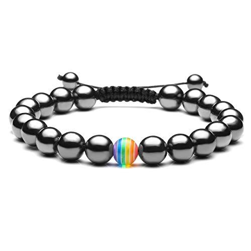 JSDDE - Bracciale con pietre naturali di lava, braccialetto con perline LGBT arcobaleno, coppia di bracciali e senza, colore: Magnetstein, cod. GGDE20190124-JJB08040