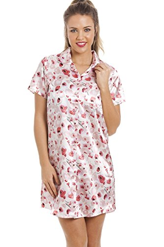 Seidiger Satin Nachthemd Verschiedene Farben und Drucke für Damen von Camille 44 Posy Print
