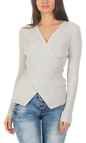 Fashion4Young 10961 Damen Feinstrick Pullover Strickpullover Langarm Strickpulli Wickeloptik (hellgrau, S/M=34/36)