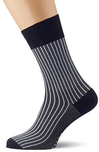 FALKE Men Oxford Stripe Socks - Cotton Blend, Blue (Dark Navy 6376), UK 5.5-6.5 (Manufacturer size: 39-40), 1 Pair