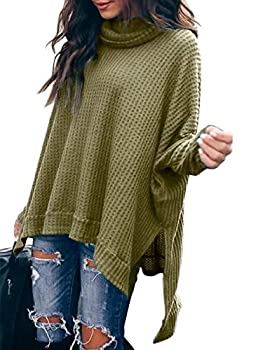 ANRABESS Women Pullover Sweater Turtleneck Batwing Sleeve Waffle Knit Oversized Tunic Tops A83junlv-L Army Green