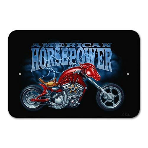UKSILYHEART Metal Sign 6x9 Inches Poster Plaque Funny Sign American Horsepower Biker Motorcycle Chopper Home Business Office Sign