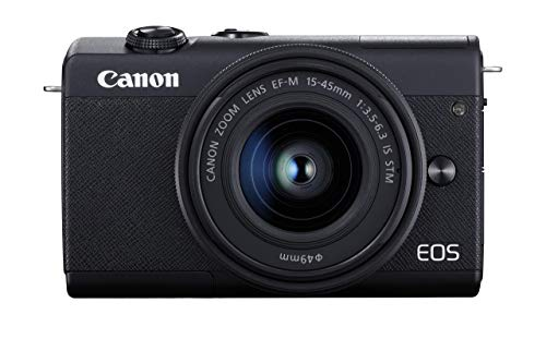 Canon EOS M200 Systemkamera (Body, 24,1 MP, klappbares Display, 4K und Full-HD, DIGIC 8, Dual Pixel CMOS AF, Bluetooth und WLAN) Gehäuse mit Objektiv EF-M 15-45mm F/3.5-6.3 IS STM Kit schwarz