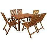 Festnight- Garten-Essgruppe 7-teilige Set | Gartengruppe aus Akazie Massivholz | Gartenmöbel Essgruppe 1 Tisch + 6 Klappstühle