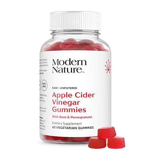 Modern Nature Apple Cider Vinegar Gummies Dietary Supplement, with Beet & Pomegranate, 60 Vegetarian Gummies