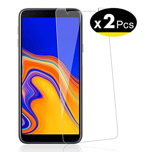 NEW'C 2 Unidades, Protector de Pantalla para Samsung Galaxy J4 Plus, Galaxy J4+ (SM-J415F), Vidrio Cristal Templado