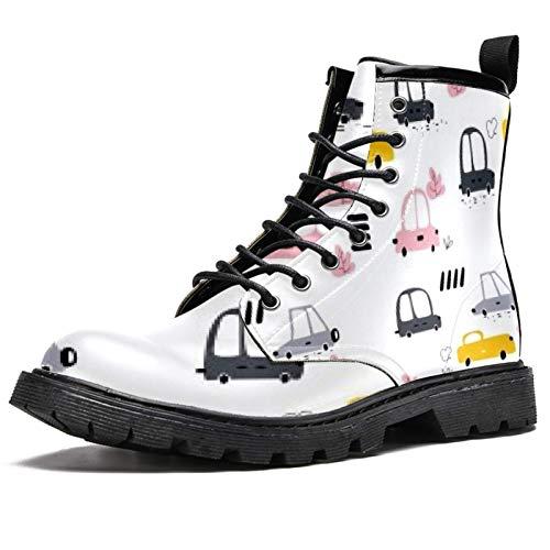 Botas ovaladas de invierno para mujeres y niñas, botas de nieve cálidas con cordones de tobillo para la escuela, color Multicolor, talla 37.5 EU