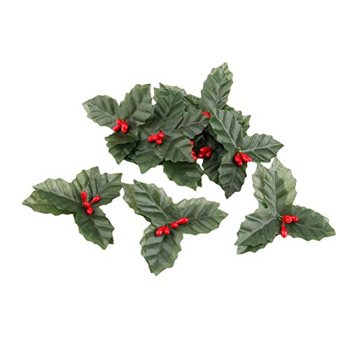 JXHYKJ 10Pcs Silk Flower Artificial Leaf Leaves and Artificial Holly Berries Red Cherry Little Fruits Christmas Wedding Home Decoration
