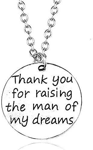 huangshuhua Collar Letras Retro Gracias por criar al Hombre de mis sueños Collar para Mujeres niñas Collares con Colgante Redondo Vintage Regalo