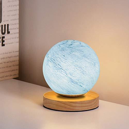 Mucher - Lampada da comodino in vetro con base in bambù, con luce notturna alimentata tramite USB, ideale per la decorazione ovunque (blu)