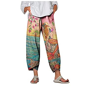 Maryia Womens Capri Pants for Summer Beach Casual Harem Comfy Palazzo Pajama Yoga Workout Fitness Print Cropped Trouser