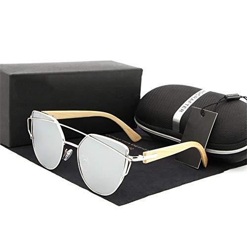 Qilo Gafas de Sol polarizadas for Las piernas de la Mujer Espejo de la Manera de Madera de bambú Lentes de Sol de Las Mujeres Gafas de Sol (Color : Style b)