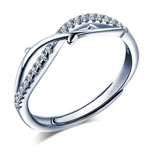 Anello da donna in argento 925, elegante anello con simbolo infinito, intarsiato zircone, anello di fidanzamento di nozze, misura regolabile, regalo di Natale e compleanno