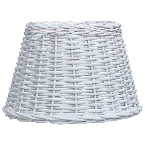 Benkeg Pantalla de Lámpara de Mimbre Blanco 30X20 Cm, Pantalla de Lámpara de Ratán