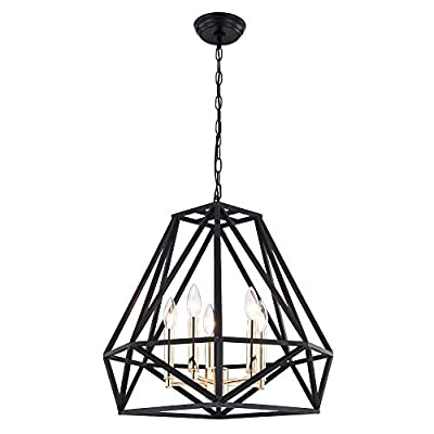 Farmhouse Chandelier Industrial Modern Pendant Lighting Fixture Black with Antique Brass & Gold Metal Finish for Dining Room,Foyer,Living Room. Dining Room 5-Lights.