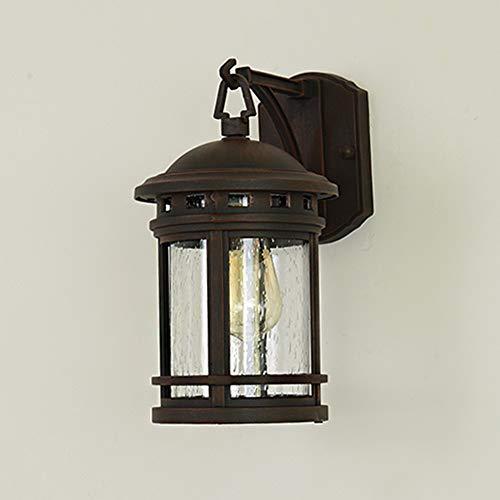 Buitenwandlamp rond, lantaarn, design van aluminium, bruin, E27-wandlamp met glazen lampenkap, waterdicht, IP23, buitenverlichting, landhuisstijl, café, balkon, gevel, trappen, vloerverlichting, 18 x 24 x 31 cm