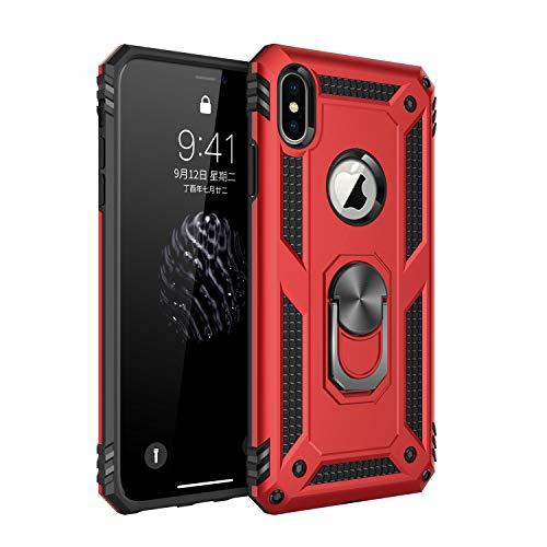 Jeack Hülle Kompatibel iPhone XS Handyhülle,360 Grad Drehbar Ringhalter Cover Silicone Magnetische Auto Halterung Schutzhülle Stoßdämpfung Bumper Case für iPhone XS Handy Hüllen (Rot)