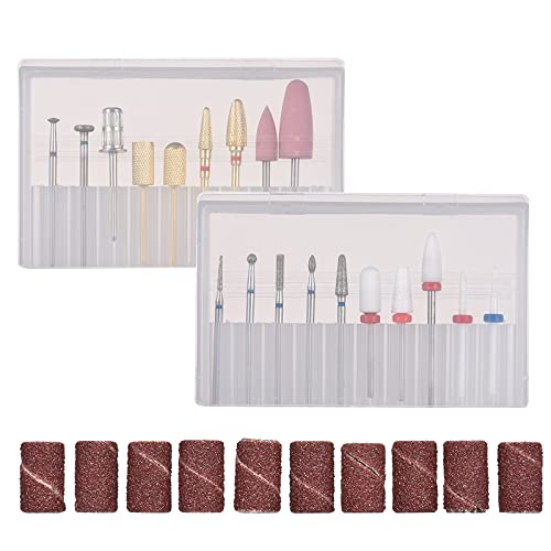 Festnight Assorted Nail Drill Bits Set Pedi & Mani Drill Bits Kit Replacement Drill Bits with 10 Sanding Paper Rings for Electric Nail Drill Machine Pen