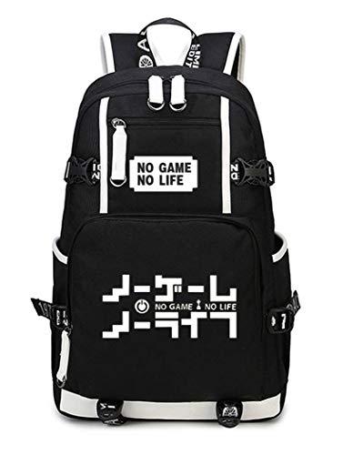 WANHONGYUE No Game No Life Anime Luminoso Mochila Escolar Estudiante Bolso de Escuela Backpack Mochila para Portátil Negro-1