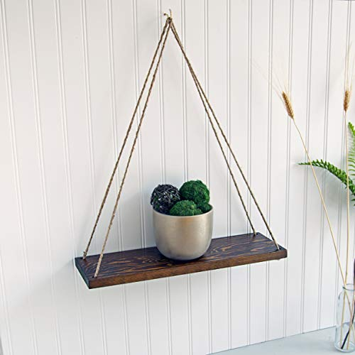 """Rustic Style Hanging Swing Rope Floating Shelves for Wall, Solid Wood, Farmhouse Shelf, 17"""", Brown"""
