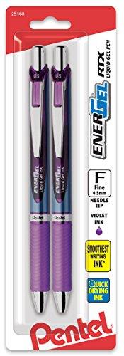 Pentel EnerGel Deluxe RTX Retractable Liquid Gel Pen, 0.5mm, Fine Line, Needle Tip, Violet Ink (BLN75BP2V)