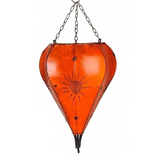 Orientalische Lampe Hängelampe marokkanische Deckenlampe Hänge Leuchte Hennalampe Lederlampe Orient Tropfen Sonne 40 cm Color Orange