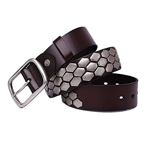 Cinturón con Tachuelas Punk Rock De Panal Hexagonal De 3 Filas para Hombres y Mujeres, Cuero Cinturones A De Moda para Jeans, Pantalones, Vestidos,Café,105cm/waist:34'~36'