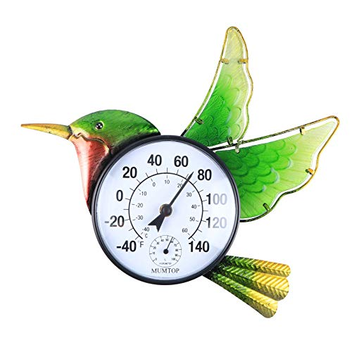 MUMTOP Thermometer Indoor Outdoor Patio Hummingbird Wall-Mounted Thermometer Does not Require Any Battery