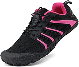 Oranginer Women Flexible Barefoot Running Shoes Zero Drop Minimalist Shoe Gym Workout Shoe 5 Five Finger Wide Toe Box Shoe Trekking Hiking Cycling Sneaker For Women Indoor Exercise Black/rose Size 8.5