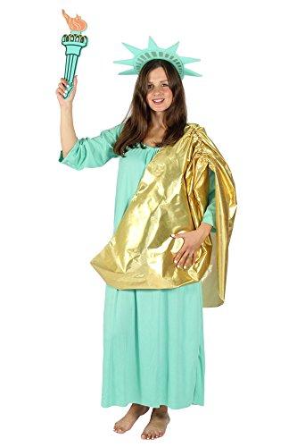 Foxxeo Freiheitsstatue Kostüm für Damen - Größe S bis XXXL - zu Fasching und Karnveval Statue of Liberty Kleid Größe XXXL