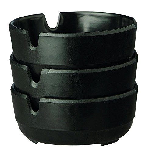 APS 576 Set di 3 posacenere in melamina nera, Ø 8 x 3 cm