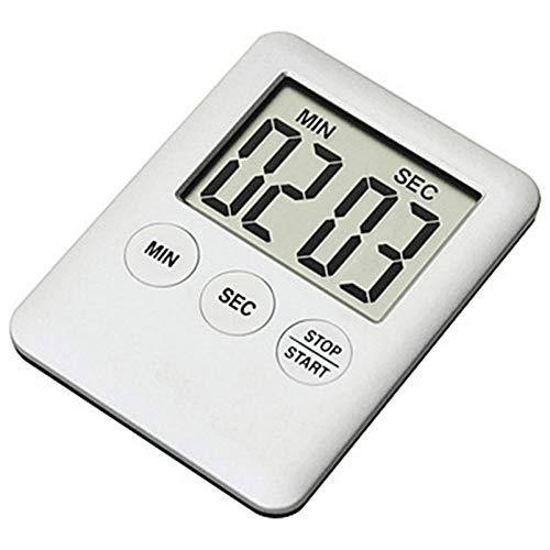 Temporizador de cocina con pantalla digital LCD, temporizador multifunción portátil de cocina con reloj despertador y función de memoria de cuenta atrás (color B-blanco)