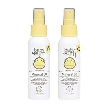 Sun Bum Baby Bum SPF 50 Sunscreen Spray | Mineral Uva/Uvb Face & Body Protection for Sensitive Skin | Fragrance Free | Travel Size | 3 fl oz | 2 Pack