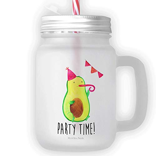 Mr. & Mrs. Panda Trinkglas, Sommerglas, Mason Jar Trinkglas Avocado Party Time mit Spruch - Farbe Transparent
