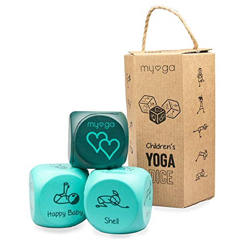 Myga Niños Yoga Dado - Niños Yoga Ejercicio Diversión Espuma Dado - 2 Pose Dado Y 1 Acción Dado - Set De 3
