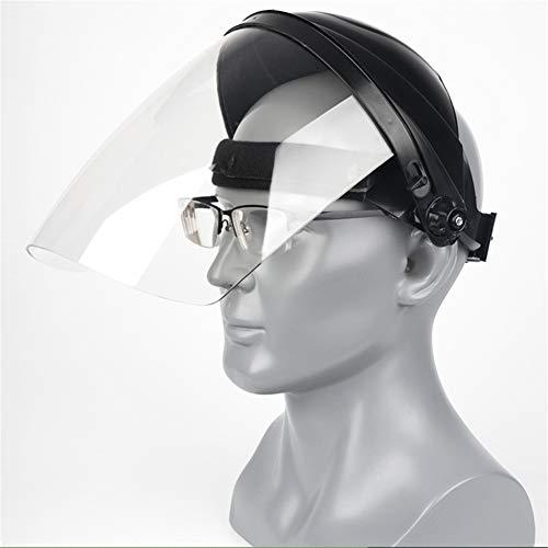 Myoyo Protector Facial de Seguridad Protección de la Cabeza del Ojo Protector Transparente de policarbonato para soldar para Todo Uso con Protector Facial con trinquete,Negro