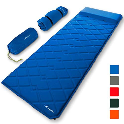 MalloMe Sleeping Pad Camping Air Mat – Inflating Mattress Bed for Backpacking Adults – Inflatable Ultralight Insulated Soft Foam Sleep Gear - Lightweight Travel Cot Roll Mats Accessories Blue