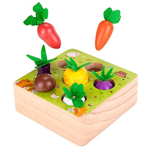 YGJT Juguetes Bebes 1 Año Montessori de Madera Juegos Educativos Niños 2 Años Niños Zanahoria Rompecabezas Regalo Bebe Favorito de Cumpleaños/Navidad (Granja)