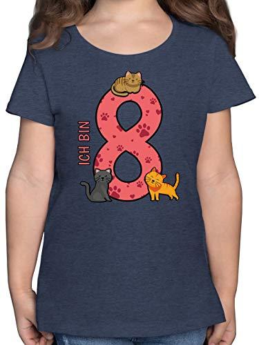 Geburtstag Kind - 8. Geburtstag Katzen - 128 (7/8 Jahre) - Dunkelblau Meliert - F131K - Mädchen Kinder T-Shirt
