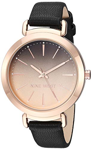 Nine West Women's NW/2288RGBK Rose Gold-Tone and Black Strap Watch