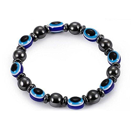 SODIAL Unisex Magnetische Armband Perlen Haematit Stein fuer Therapie Gesundheitswesen Haematit Perlen Armband Schmuck schwarz und blau