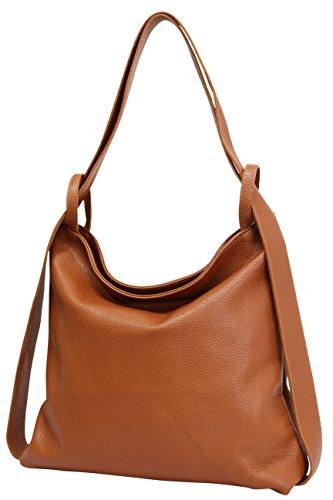 AmbraModa Italienische Ledertasche, Damen handtasche rucksack 2 in 1 Damenrucksack Daypack Schultertasche Damen Handtasche Beutel GL019, Cognac Braun, XL
