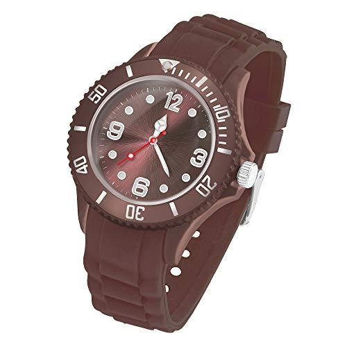 Taffstyle Deutschland Damen Uhr Analog Quarz mit Silikon-Armband Sport Farbige Sportuhr Bunte Armbanduhr Herren Kinder 43mm Braun