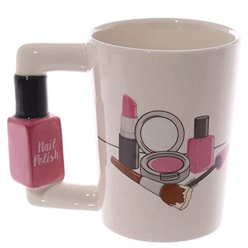 GZSC Reutilizable Taza de café 3D Tazas de cerámica Creativas pintadas a Mano Herramientas de niña Kit de Belleza Ofertas Mango de Esmalte de uñas Taza de café de té Taza Tazas Personalizadas