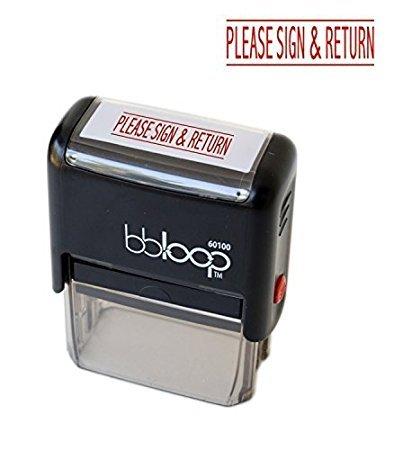 "BBloop""Please Sign and Return"" Self-Inking Stamp. Rectangular. Laser Engraved. RED"