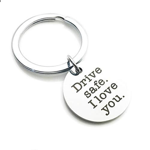 Malinmay Auto Schlüsselanhänger Männer, Edelstahl Schlüsselbund Rechteck Drive Safe gut aussehend. Ich liebe dich
