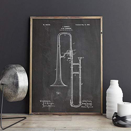Honony Trombón Blueprint Jazz Arte Carteles Decoración de la Sala de música Vintage Lienzo Pintura Imágenes de la Pared Idea de Regalo Música Cartel-40x60cm No Frame