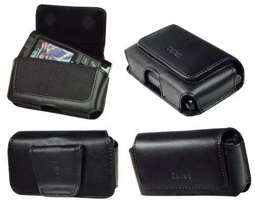 AUTHENTIC CELLET PREMIUM BLACK HORIZONTAL BRAVO LEATHER CASE SIDE POUCH (with Belt Clip) for MOTOROLA RAZR V3, V3i, V3m, V3c, V3t, V3e, V3r / LG VX8700 SHINE / SANYO 6600 KATANA / SAMSUNG A900, T629, T809 - RETAIL PACKAGING