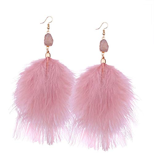 Mujeres Elegantes Pendientes de diseño de Plumas de Moda Encantos Damas Compromiso de Boda Pendientes Largos Pendientes Joyas (Rosa)